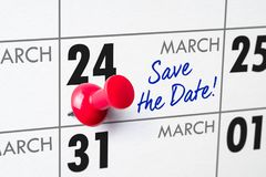 March 24. Wall calendar with a red pin - March 24 stock photos