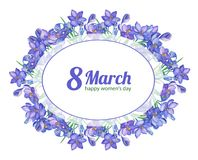 8March.Watercolor illustration with crocus. Or saffron on a white background.Spring bouquet of purple flowers.Greeting card for women`s day.Can be used as Royalty Free Stock Image