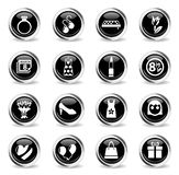 8 march icon set. 8 march web icons - black round chrome buttons royalty free illustration