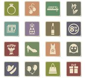 8 march icon set. 8 march web icons - paper stickers for user interface design stock illustration