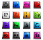 8 march icon set. 8 march web icons in square colored buttons royalty free illustration