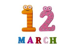 March 12 on white background, numbers and letters. stock photo
