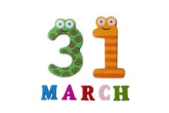 March 31 on white background, numbers and letters. stock image