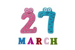 March 27 on white background, numbers and letters. stock image