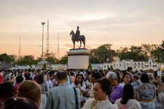 Equestrian statue of King Chulalongkorn in the evening, Bangkok, Thailand. March 3, 2018. Wide side view of the Equestrian statue of King Chulalongkorn in the stock photo