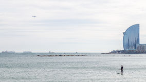 5 MARCH 2017. Wind surfers on Barceloneta beach, Barcelona stock images