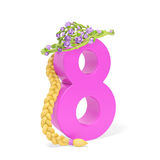 8 March Woman Day. International Woman Day (8 March). Spring holiday floral creative concept. Pretty elegant pink number 8 with blond braid of hair and green Royalty Free Stock Photo