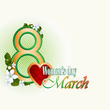 8 march woman's day background with blossom flowers. 8 march woman's day background with beautiful apple blossom flowers and nice heart royalty free illustration