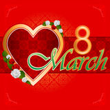 8 March Woman's day background with heart filled by arabesques. 8 March Woman's day background with heart filled by ornamental, arabesques garnished by beautiful Stock Photography
