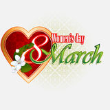 8 March Woman's day background with 8 March text garnished by beautiful white flowers Stock Photos