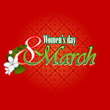 8 March Woman's day background with 8 March text garnished by beautiful white flowers. Ornamental design on backdrop Stock Images