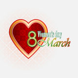 8 march woman's day background with nice heart filled of ornamental, arabesques Royalty Free Stock Photo