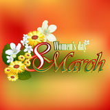 8 March Woman's day background with seasoned coloring on backdrop. 8 March Woman's day background with 8 March text garnished by many beautiful flowers; Nice vector illustration