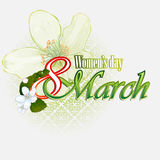 8 March Woman's day background with white flowers. 8 March Woman's day background with 8 March text garnished by beautiful white flowers; Nice flower projection stock illustration