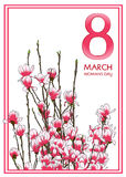 8 March Woman`s day greeting card. Vector illustration stock illustration