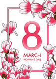 8 March Woman`s day greeting card. Vector illustration royalty free illustration