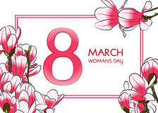 8 March Woman`s day greeting card. Vector illustration Royalty Free Stock Photography