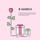 March Woman's Day Present Box Flower Rose Set Collection. 8 March Women Day Holiday Present Gift Box Flower Rose Thin Line Vector Illustration stock illustration