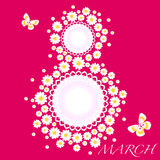 8 march women day card. With daisies vector illustration