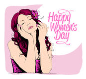 8 march women day card with graphic portrait of a woman. Stock Photography