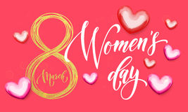 8 March Women Day gold glitter heart greeting card. Women Day gold glitter eight and pink hearts pattern. 8 March Woman holiday premium text lettering for Royalty Free Stock Image