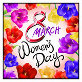 8 march women day, Hand lettering text, calligraphy for your design, color tulips flowers. Vector illustration eps10 graphic art Stock Image
