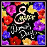 8 march women day, Hand lettering text, calligraphy for your design, color tulips flowers. Vector illustration eps10 graphic art stock illustration