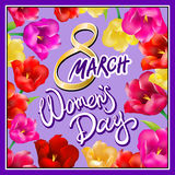 8 march women day, Hand lettering text, calligraphy for your design, color tulips flowers, vector illustration eps10 graphic. Art vector illustration