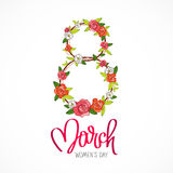 March 8 - Women`s Day. Arrangement of rose. March 8 - Women`s Day. The trend calligraphy. Vector illustration on white background. Great holiday gift card Royalty Free Stock Photography