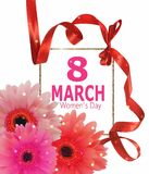 8 march women`s Day banner with curly ribbon and gerberas. Vector illustration Stock Image