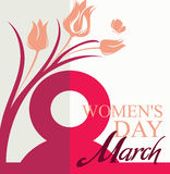 March 8. Women`s Day card. With flowers tulip and butterfly. Vector template of banner, poster, postcard, invitation Royalty Free Stock Photo