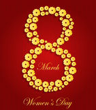8 March Women's Day Card with gold background. Vector illustration royalty free illustration