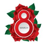 8 march Women's Day card with lush roses (vector). Red roses with leafs. Bright greeting card (circles Stock Photo