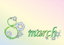 March 8 - Womens Day. Womens Day card with painted flowers Royalty Free Stock Images