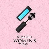 8 march women\'s day card with pattern background. For web design and application interface, also useful for infographics. Vector illustration Royalty Free Stock Photo