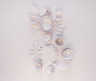 March 8 Women`s Day. Card with white paper flowers on white background. Cut from paper Royalty Free Stock Photo