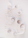 March 8 Women`s Day. Card with white paper flowers on white background. Cut from paper Stock Photography