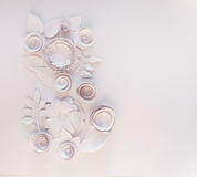 8 march, women`s day. March 8 Women`s Day card with white paper flowers on white background. Cut from paper Stock Images