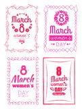 8 March Women s Day Collection Posters Invitation. 8 March Women s Day collection of posters invitation templates, best wishes on International holiday for girls royalty free illustration