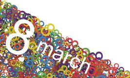 8 March Women's Day. Colorful numbers background. Women's Day. Colorful numbers background. 8 March vector illustration