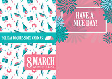 8 march. Women`s day flat art greeting card. Trendy Design Template. Vector illustration Royalty Free Stock Image