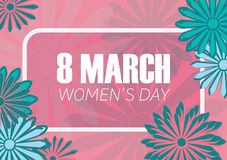 8 march. Women`s day flat art holiday card. Trendy Design Template. Vector illustration Stock Photos