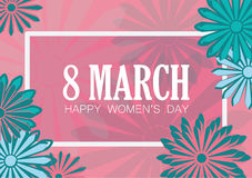 8 march. Women`s day flat art holiday card. Trendy Design Template. Vector illustration Stock Photography