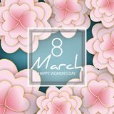 8 March, Women`s Day floral greeting card. 3d, origami, paper cut foral bouquet, heart shape petals, golden lines. Frame with text. Happy Mother`s Day. Vector stock illustration