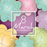 8 March, Women`s Day floral greeting card. 3d, origami, paper cut foral bouquet, heart shape petals, golden lines. Frame with text. Happy Mother`s Day. Vector royalty free illustration