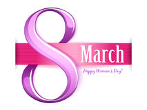 8 march women`s day greeting card. Royalty Free Stock Photo
