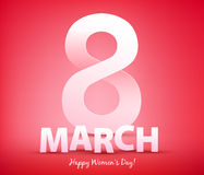 8 march women`s day greeting card. Stock Image