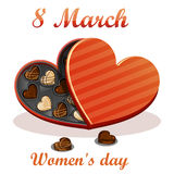 8 March. Women's day Greeting card. Celebration background with gift box chocolates. Royalty Free Stock Photos