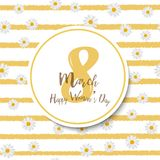 8 March. Women`s day greeting card with chamomile and  handwritten lettering. Vector.  Stock Image