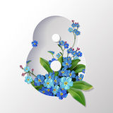 8 March Women's Day greeting card. Eight March Women's Day Spring greeting card template Stock Images